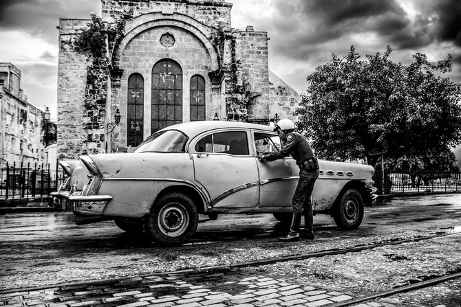 Havana Cuba daily life in Black and white