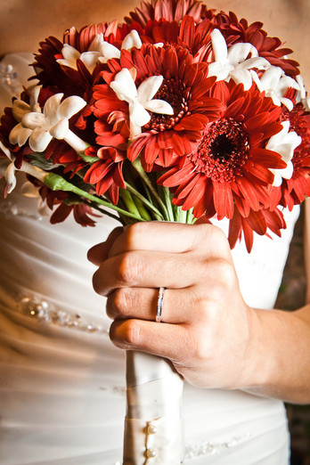Red Bridal Bouquet and Ring