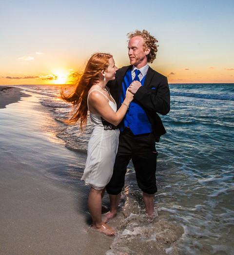 Beach Sunset Wedding Couple