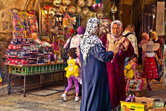 Women in Market Muslim Quarter Jeruselm Israel
