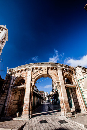 Arch to Old city market, The Chirstian Quarter Old Jerusalem Israel