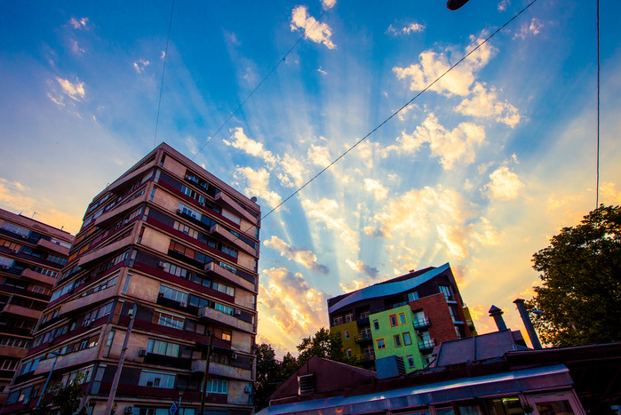 Colorful Sunset over Kalenic pijaca Belgrade Serbia