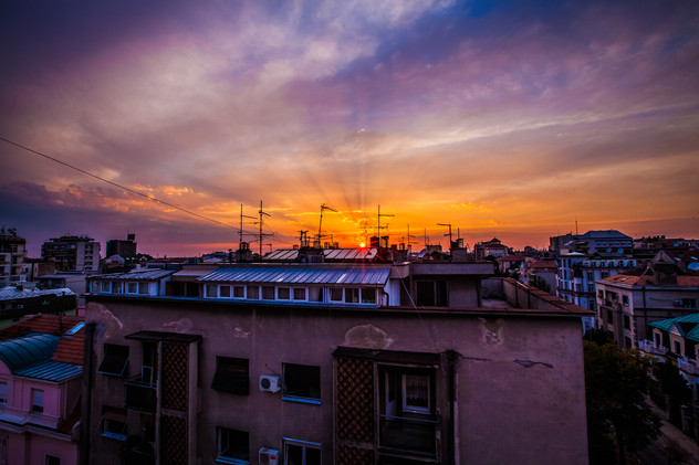 Colorful Sunset from the roof tops of Belgrade Serbia