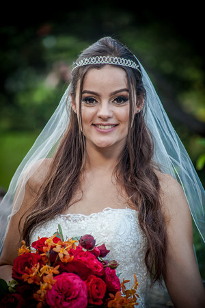 Beautiful Bride with Veil and Bouquet