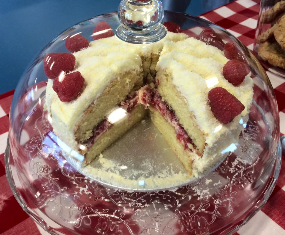 cake under glass