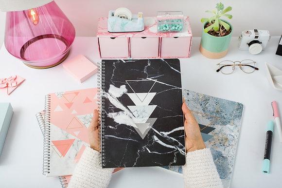 Cuaderno Cuadriculado Mármol Negro - Rock Design