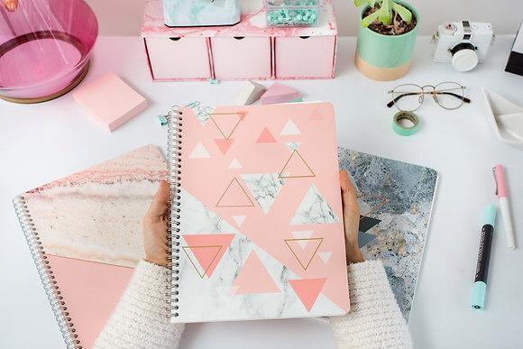 Cuaderno Cuadriculado Mármol Rosa - Rock Design