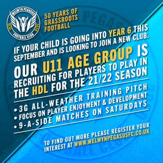 Recruiting New Players – U11 – 2021/22 Season