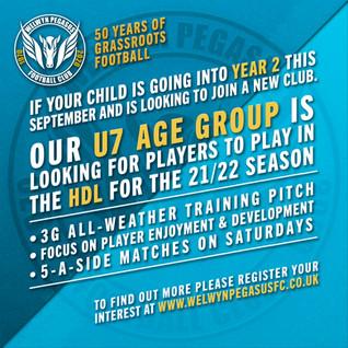 Recruiting New Players – U7 – 2021/22 season