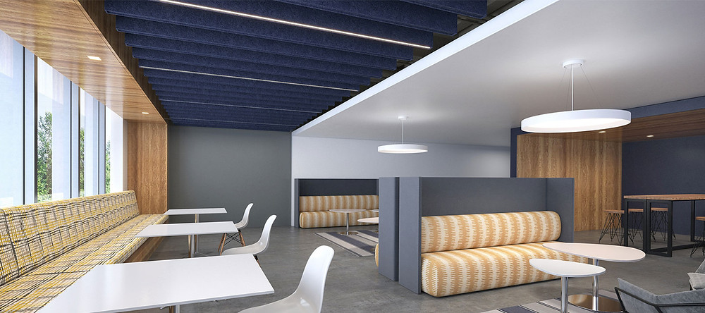 open office lounge area with breakout spaces, tables, windows, acoustic ceiling solutions