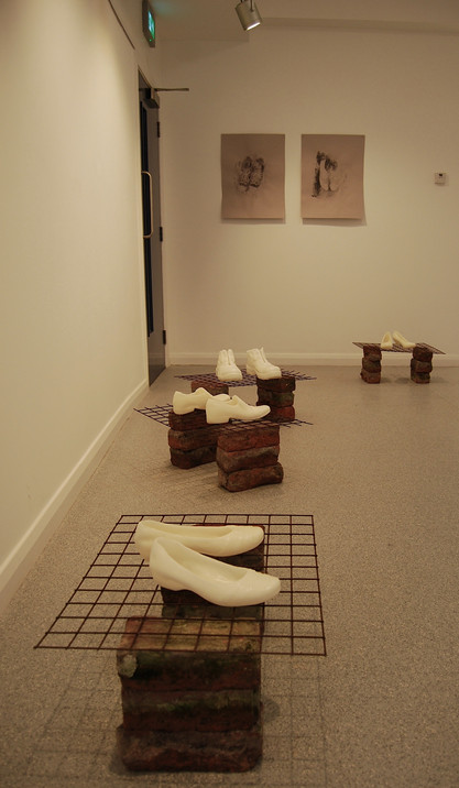 OneDay Garden of Reflection Gallery, 2016  Wax cast shoes, bricks, metal