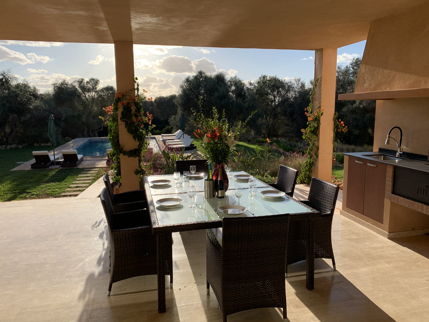 Outside dining area with barbecue