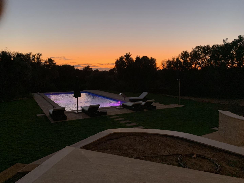 Sunset over garden