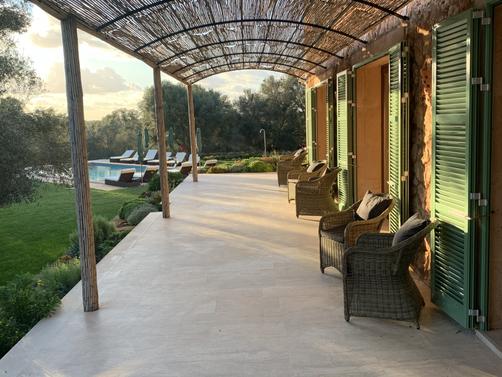 Long terrace looking towards pool
