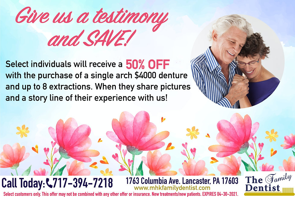 Give us a testimony and save, dentures 50% OFF spring sale, sales on dnetures in Pennsylvania