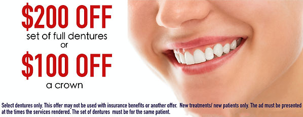 FREE CONSULTATION, 200 OFF DENTURES, 100 OFF A CROWN, CHEAP DENTURES, FREE CONSULT, HOLIDAY SPECIAL