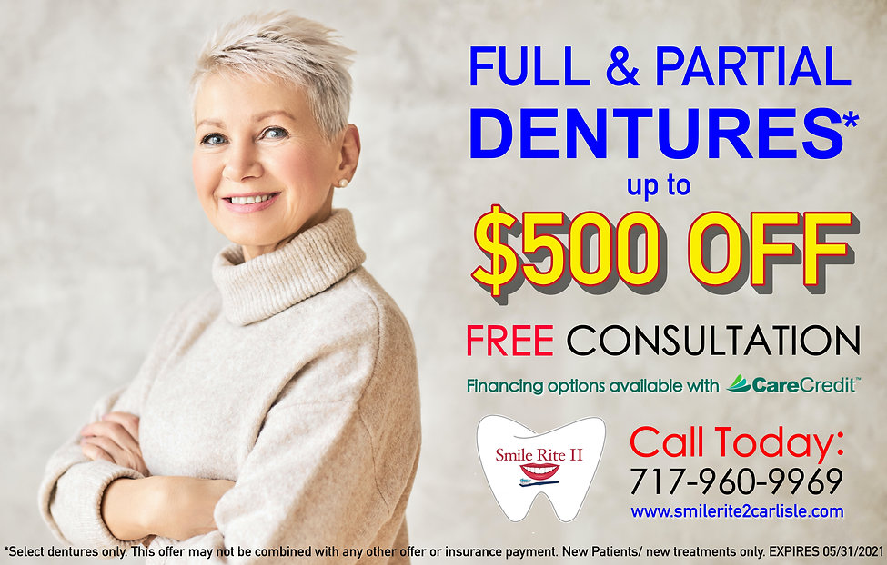 may special, free dental consultation, free denture consultation, dentures $500 OFF, dentures in Carlisle