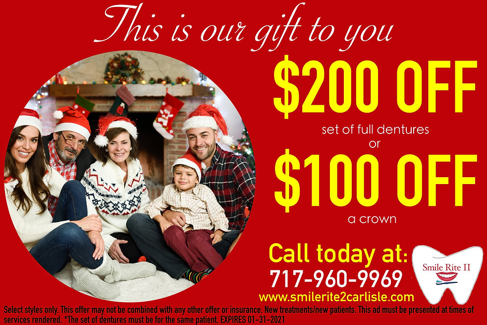 FREE CONSULTATION, 100 OFF CROWN, 200 OFF DENTURES, CHEAP DENTURES, FREE CONSULT, HOLIDAY SPECIAL