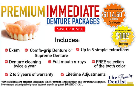 summer special, free dental consultation, free denture consultation, dentures $730 OFF, dentures in Lancaster, immediate dentures