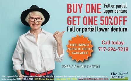 Denture special, denture offer, denture sale, bogo denture sale, buy one denture get one denture 50%OFF