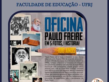 """Link da oficina """"Paulo Freire em 5 fotos, 1 história"""""""