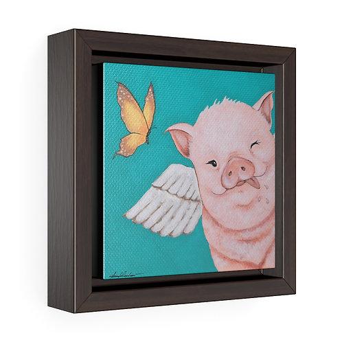 """Porkchop"" The Flying Pig Square Framed Premium Gallery Wrap Canvas"