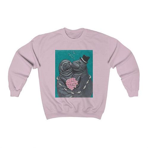 """You Make Me Blush!"" Manatees in Love, Unisex Heavy Blend™ Crewneck Sweatshirt"