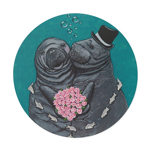 """""""You Make Me Blush!"""" Manatees in Love Round Vinyl Stickers"""