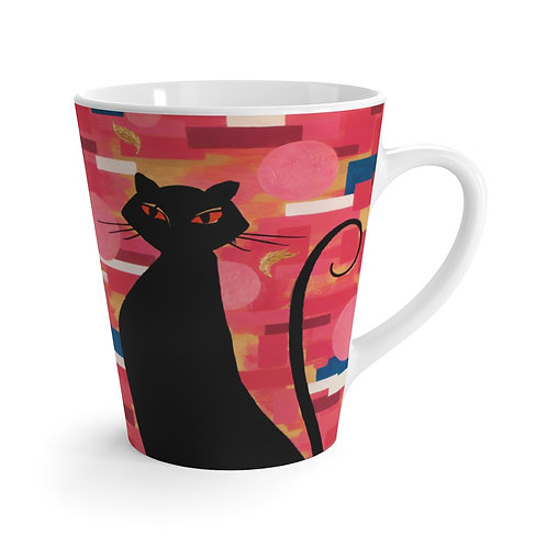 """""""The Cat Who Caught The Canary"""" Latte Mug"""