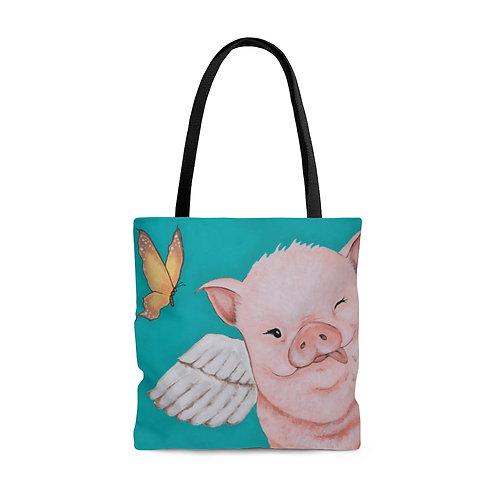 """""""Porkchop"""" The Flying Pig AOP Tote Bag"""