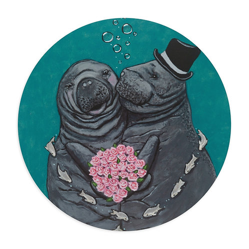 """'You Make Me Blush!"""" Manatees in Love Mouse Pad"""