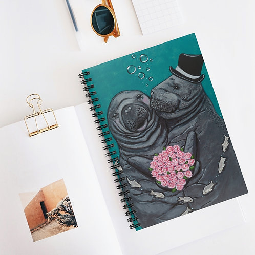 """""""You Make Me Blush!"""" Manatees in Love Spiral Notebook - Ruled Line"""