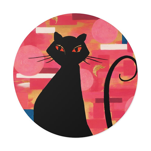 """""""The Cat Who Caught The Canary"""" Round Vinyl Stickers"""