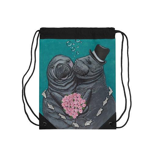 """""""You Make Me Blush!"""" Manatees in Love Drawstring Bag"""