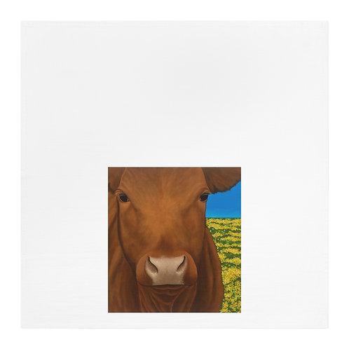 """Morning!"" Brown Cow Tea Towel"