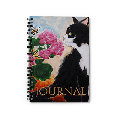 """""""Bee The Flower"""" Black and White Cat Spiral Notebook - Ruled Line"""