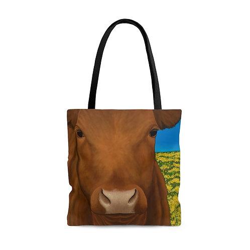 """Morning!"" Brown Cow AOP Tote Bag"