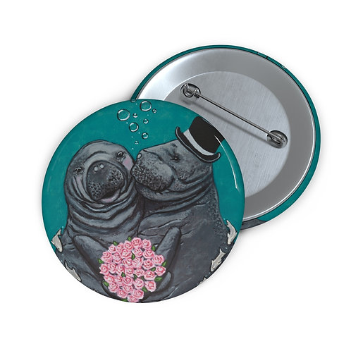 """""""You Make Me Blush!"""" Manatees in Love Custom Pin Buttons"""
