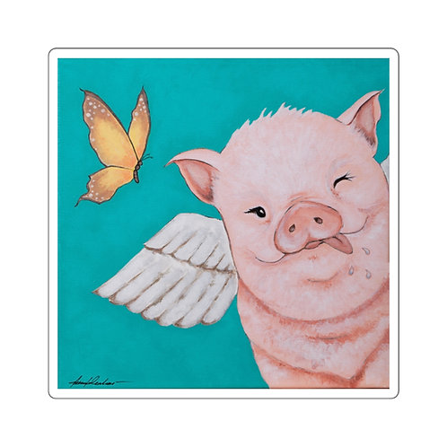 """""""Porkchop"""" The Flying Pig Square Stickers"""