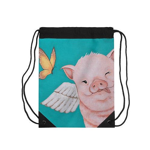 """""""Porkchop"""" The Flying Pig Drawstring Bag"""