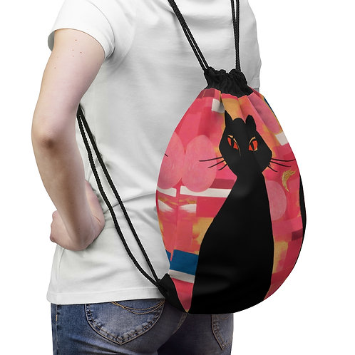 """""""The Cat Who Caught The Canary"""" Drawstring Bag"""