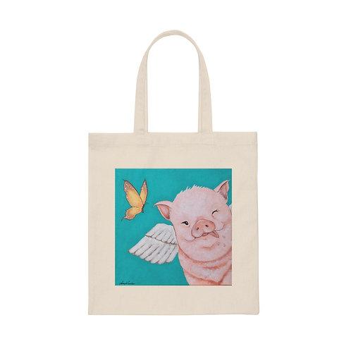 """""""Porkchop"""" The Flying Pig Canvas Tote Bag"""