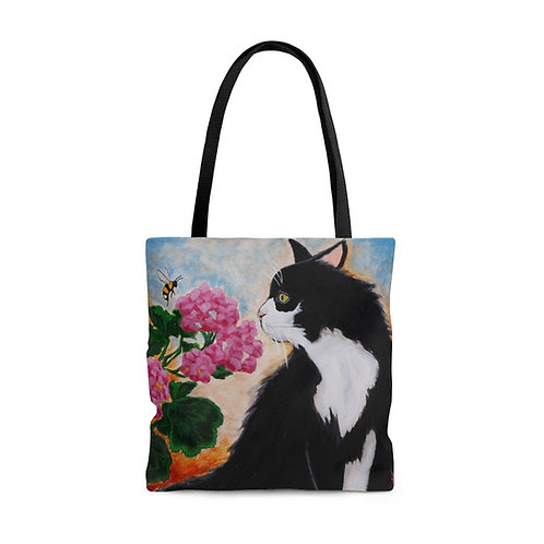 """'Bee The Flower"""" Black and White Cat AOP Tote Bag"""