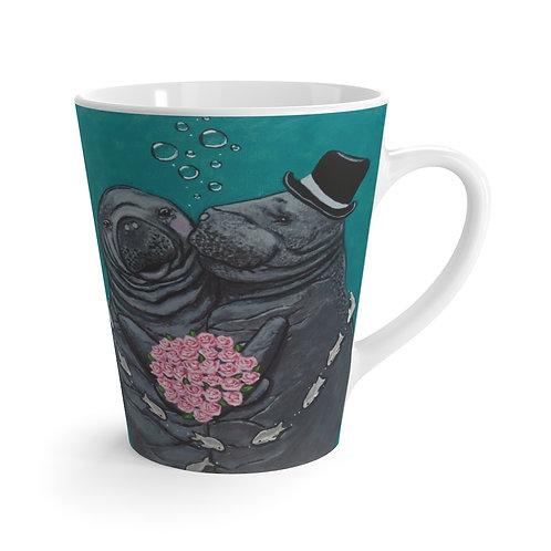 """'You Make Me Blush!"""" Manatees in Love Latte Mug"""