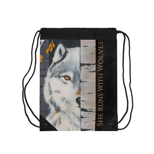 """""""Fearless"""" She Runs With Wolves Drawstring Bag"""