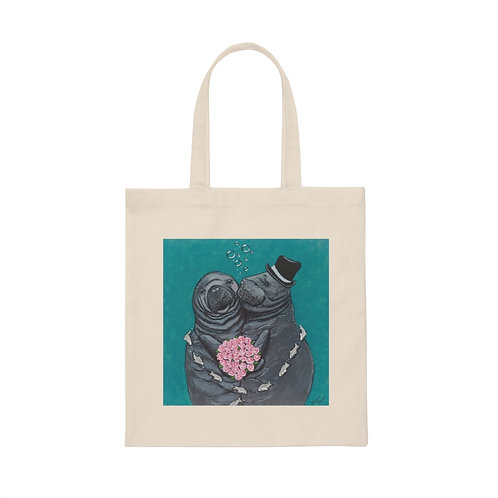 """""""You Make Me Blush!"""" Manatees in Love Canvas Tote Bag"""