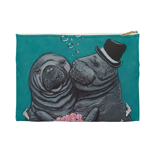 """""""You Make Me Blush!"""" Manatees in Love Accessory Pouch"""