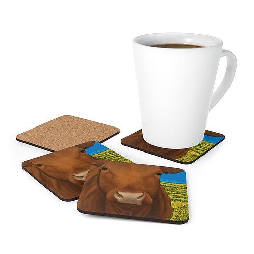 """Morning!"" Brown Cow Corkwood Coaster Set"