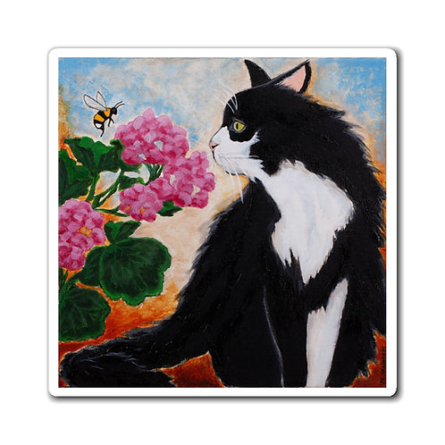 """""""Bee The Flower"""" Black and White Cat Magnets"""