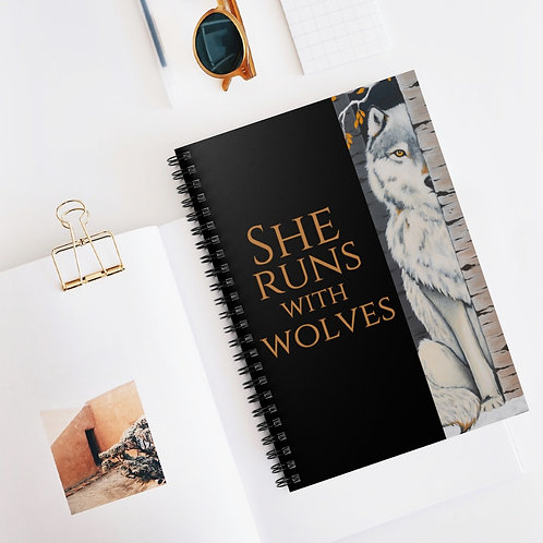 """""""Fearless"""" She Runs With Wolves Spiral Notebook - Ruled Line"""